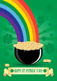 Green cauldron icon with gold coins and rainbow Stock Image
