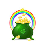 Green cauldron iitn gold coins Stock Image