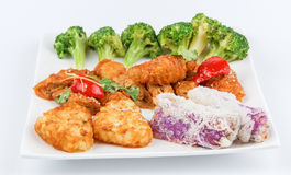 Green cauliflower,Bean curd sheet,potato cake Royalty Free Stock Photo