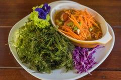 Green caviar seaweed and papaya salad Royalty Free Stock Photography