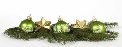 Green Cchristmas balls Royalty Free Stock Photos
