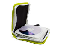 Green CD case isolated Stock Photo