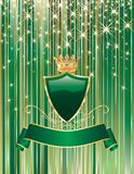Green celebration. Vector green background with blank shield and ribbon Stock Image