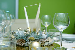 Green Celebration table setting Stock Images
