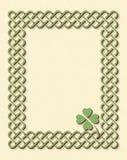 Green celtic shamrock frame. Traditional green celtic style braided knot frame with shamrock leaf over textured vintage background stock illustration