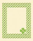 Green celtic shamrock frame. Traditional green celtic style braided knot frame with shamrock leaf over textured vintage background vector illustration