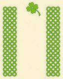 Green celtic shamrock frame. Traditional green celtic style braided knot borders with shamrock leaf over textured vintage background, room for text stock illustration