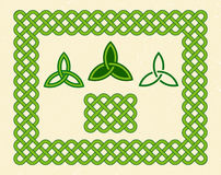 Green celtic style frame and elements Royalty Free Stock Photo