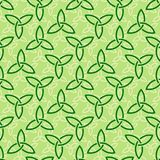 Green celtic style seamless pattern. Traditional green celtic style braided knots triquetra symbols seamless pattern. Irish St. Patrick`s day vector backround Royalty Free Stock Photo
