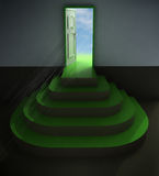 Green central three rounded stair doorway with flare Royalty Free Stock Images