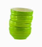 Green ceramic bowls Stock Photos