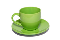 Green ceramic cup and saucer Stock Photo