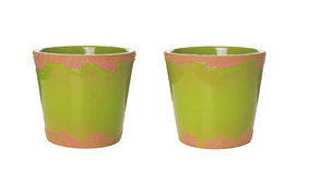 Green ceramic flower pots , isolated royalty free stock photography