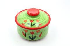 Green ceramic pot Royalty Free Stock Image