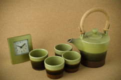 Green ceramic tea set Stock Photos