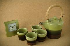 Green ceramic tea set Stock Photos