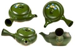 Green ceramic teaport Stock Photos
