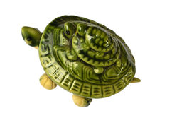 Green Ceramic Turtles. Two green ceramic turtles: one is a parent; another is a kid Stock Photos
