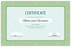 Green certificate diploma for education royalty free illustration