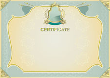 Green certificate with gold elements Royalty Free Stock Photos