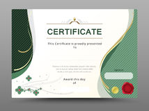Green certificate template with gold ribbon decorate. vector ill Stock Image