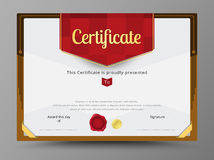 Green certificate template with gold ribbon decorate.  Stock Photography
