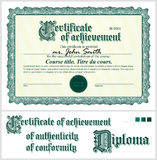 Green certificate. Template. Horizontal. Green certificate. Template. Horizontal Additional design elements Stock Image