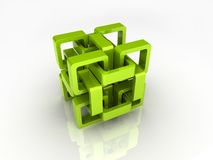 Green chain cube Royalty Free Stock Photo