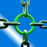 Green Chain Link Shows Strength Security Royalty Free Stock Photo