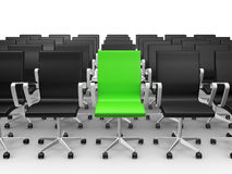 Green Chair in Conference Hall. Green office chair outstanding from black ones, isolated on white background Stock Images
