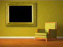 Green chair with picture frame Royalty Free Stock Photo