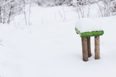 Green chair in the snow Stock Photography