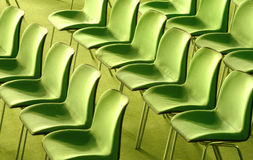 Green Chairs. Bright green chairs in a public auditorium Royalty Free Stock Photos