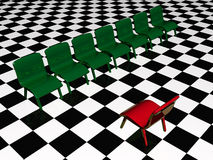 Green chairs and red chair. Green and red chairs on chequered background vector illustration