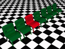 Green chairs and red chair. Green and red chairs on checked background stock illustration