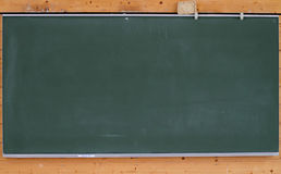 Green chalk board on wall Stock Images