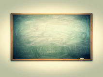 Green chalk board. With wooden frame on wall Royalty Free Stock Image