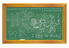 Green chalkboard. With handwriting isolated on white background Stock Photography