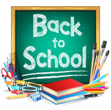 Green Chalkboard with Back to School Text and School Supplies Stock Image