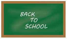 Green chalkboard background  illustration with sign back to school Royalty Free Stock Photos