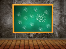 Green chalkboard with bulbs Stock Image