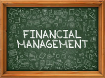 Green Chalkboard with Hand Drawn Financial Management. Stock Images