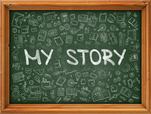Green Chalkboard with Hand Drawn My Story. Royalty Free Stock Images
