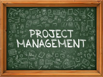 Green Chalkboard with Hand Drawn Project Management. Royalty Free Stock Images
