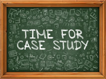 Green Chalkboard with Hand Drawn Time for Case Study. Stock Image