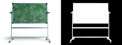 Green chalkboard with metal frame 3d render on white with alpha Stock Images