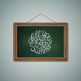 Green Chalkboard. Mockup Template with Lettering Stock Photography