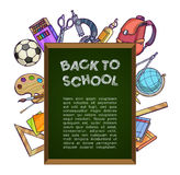Green chalkboard with school supplies - back to school concept Royalty Free Stock Photography