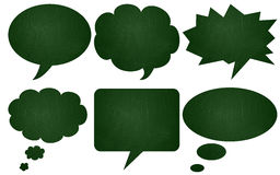 Green chalkboard textured speech bubbles Royalty Free Stock Photo