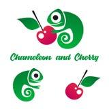 Green chameleon Logo. Vector logo for children club. royalty free illustration